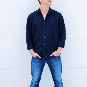 Men's Casual Button Down Black Long Sleeve Shirt